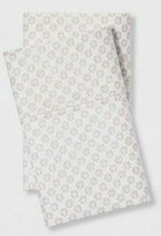 "King Pillowcase set soft organic cotton 300tc white pink print 40""x20"" Threshold image 1"