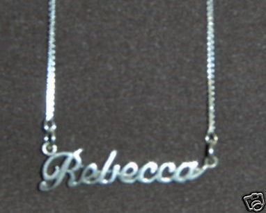 Sterling Silver Name Necklace - Name Plate - REBECCA