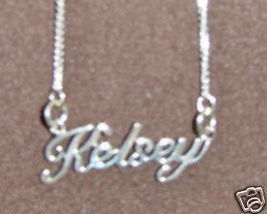Sterling Silver Name Necklace - Name Plate - KELSEY - $54.00