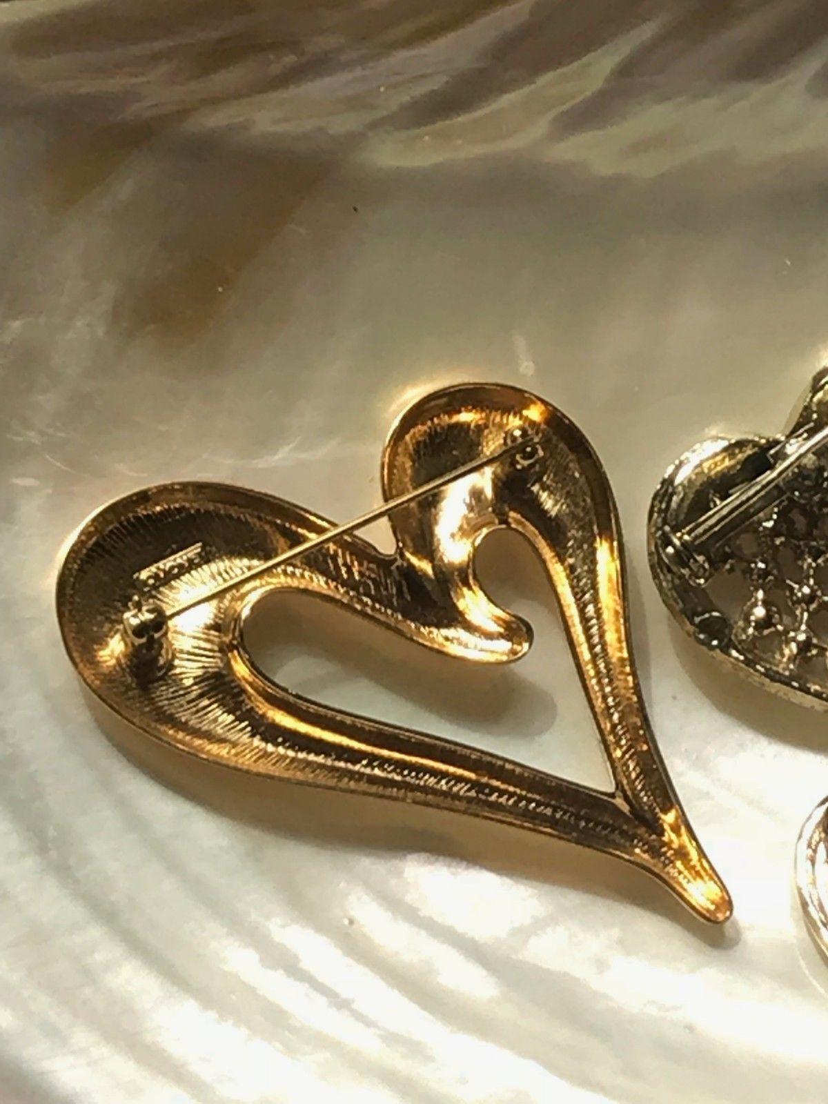 Vintage Lot of 3 Avon Signed Goldtone Slanted Red Rhinestone Encrusted Valentine image 7