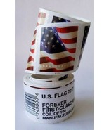 1 ROLL OF 100 FOREVER USPS US FLAG POSTAGE STAMPS- FIRST CLASS MAIL - $47.99
