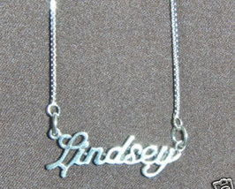 Sterling Silver Name Necklace - Name Plate - LINDSEY - $54.00