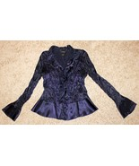 PURPLE HIGH NECK CRINKLE FITTED BLOUSE TOP BUTTON SHIRT BELL SLEEVE RUFF... - $12.99