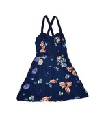 American Eagle Outfitters Womens Sun Dress Blue Floral Strappy Cross Back 4 - $12.34