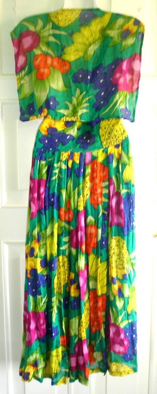 90's RENE DERHY Vintage Tropical Green Dress, Size M