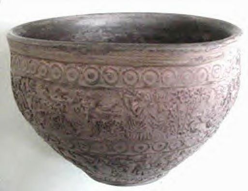 Old Greek Art Pottery Embossed Ships & Figures Bowl