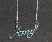 Sterling Silver Name Necklace - Name Plate - AMY