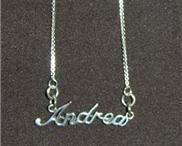 Sterling Silver Name Necklace - Name Plate - ANDREA
