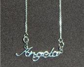 Sterling Silver Name Necklace - Name Plate - ANGELA