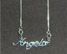 Sterling Silver Name Necklace - Name Plate - ANGELA - $54.00
