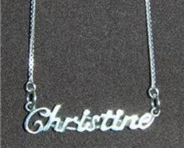 Sterling Silver Name Necklace - Name Plate - CHRISTINE - $54.00
