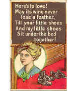 Heres To Love A Valentine Poem Vintage Post Card - $6.00