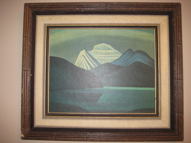 Lawren Harris Mountains And Lake Framed Oil On Paperboard Print