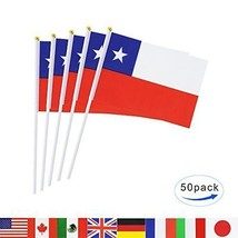 Chile Stick Flag TSMD 50 Pack Hand Held Small Chilean National Flags On ... - $16.79