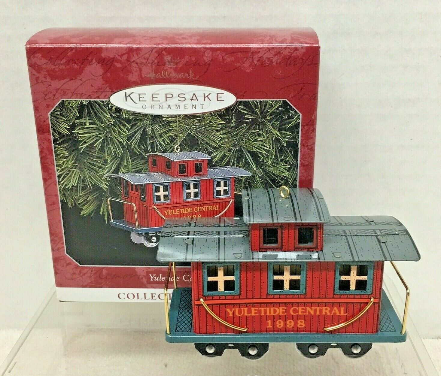 1998 Yuletide Central #5 Caboose Hallmark Christmas Tree Ornament MIB Tag