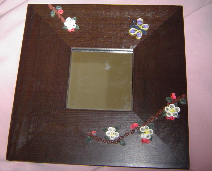 Apple Blossom and Butterfly Mirror Handcrafted Paper Quill New