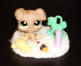 Littlest Pet Shop 1353 Baby Boxer Puppy Dog & Accessory Lot  Authentic  LPS - $18.76