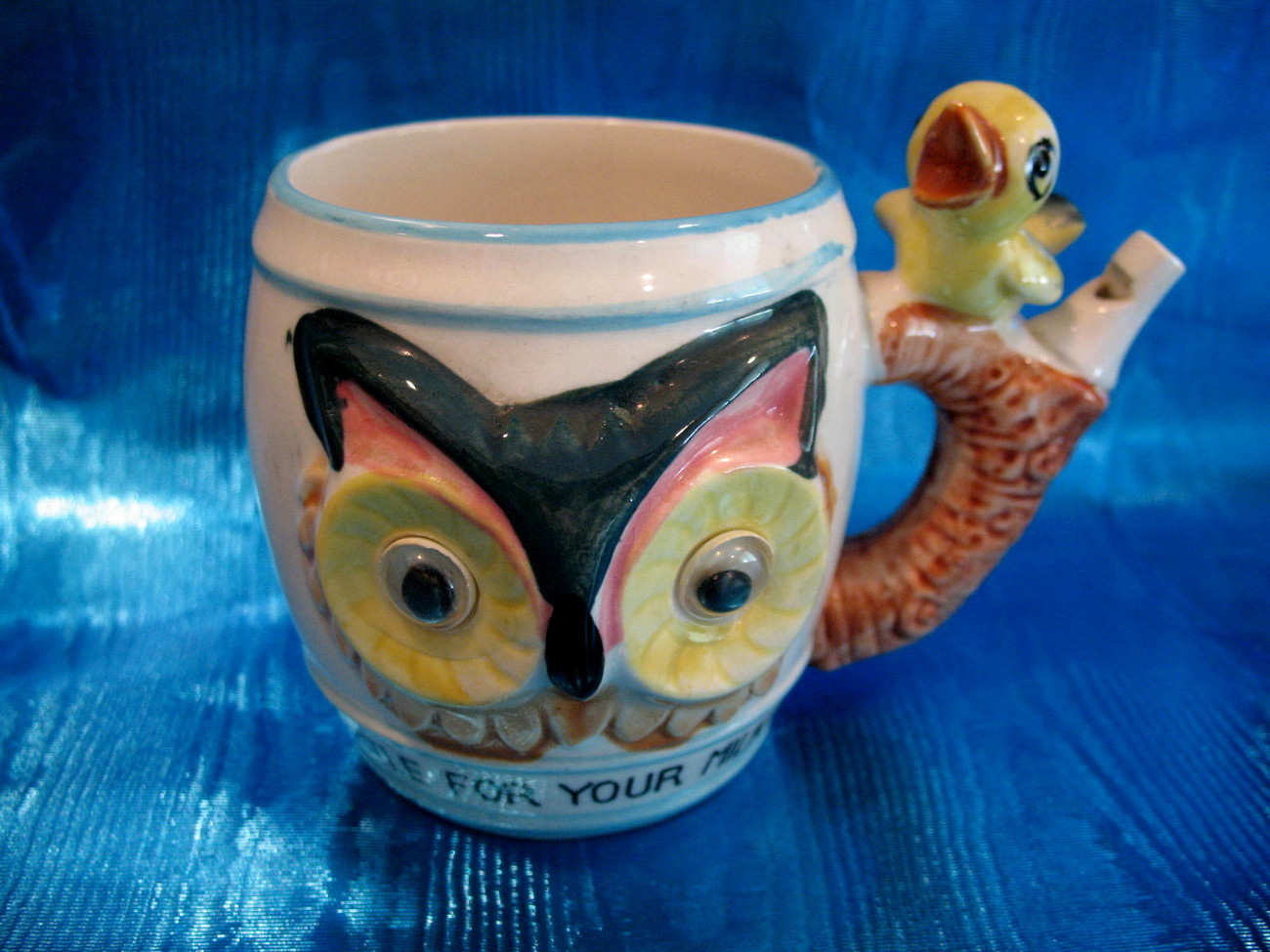 Vintage WHISTLE For Your MILK Cup Mug OWLS Childs Children BIRD Collector