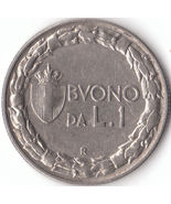 A vintage 1923 R One lire Coin from Italy A fine coin - £10.86 GBP