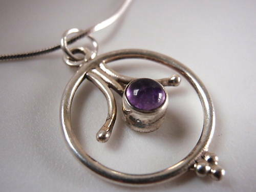 Primary image for Purple AMETHYST 925 Sterling Silver Necklace Corona Sun Jewelry