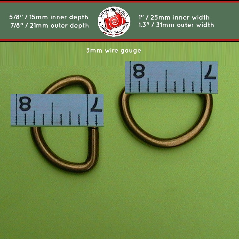 80 One Inch Antique Brass Unwelded D rings - 1 inch / 25 mm