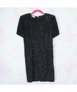 Vintage 80s Stenay Petites 6 6P Black Beaded Sequin Embellished Silk Shi... - $49.49