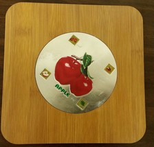 "1 Natural Bamboo Heat Pad, Kitchen Decor, 3D APPLES, SQUARE, approx.7"" x 7"" - $8.90"