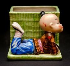 Ceramic Occupied Japan Plant Holder Planter Boy Green Vintage  - $24.26