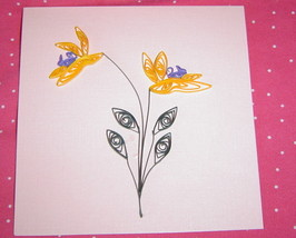 Pink Handcrafted Iris Paper Quilled  Flower Card - $9.99