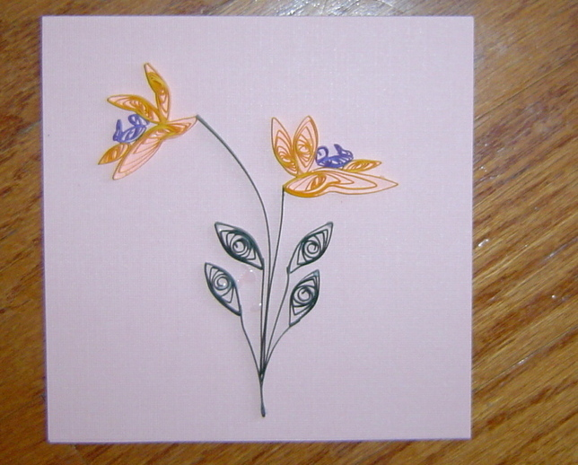 Pink Handcrafted Iris Paper Quilled  Flower Card