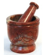 Triple Moon Soapstone Mortar & Pestle Set New - $36.95