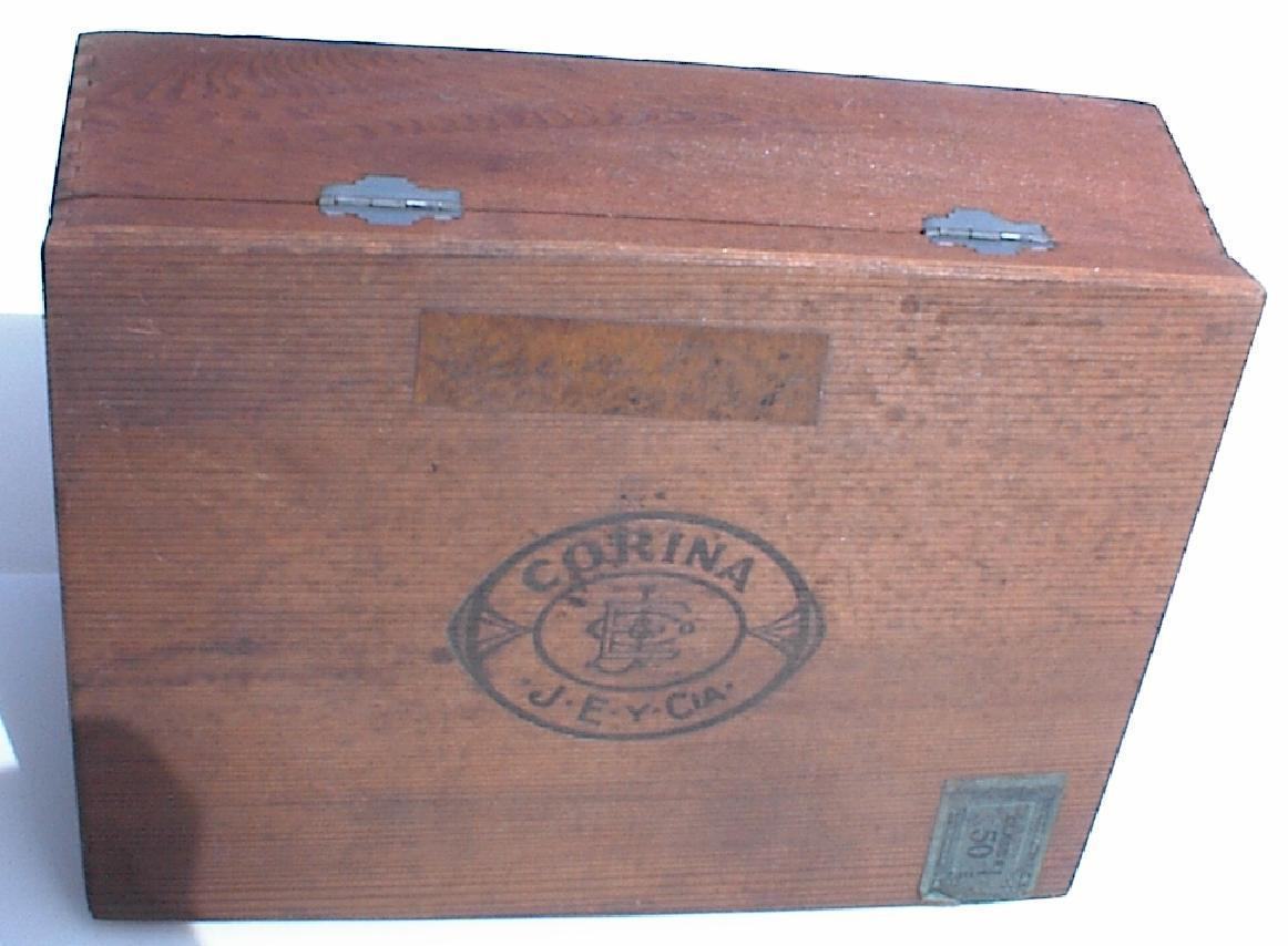 Vintage WOODEN Cigar Box CORINA Hinged Wood Box