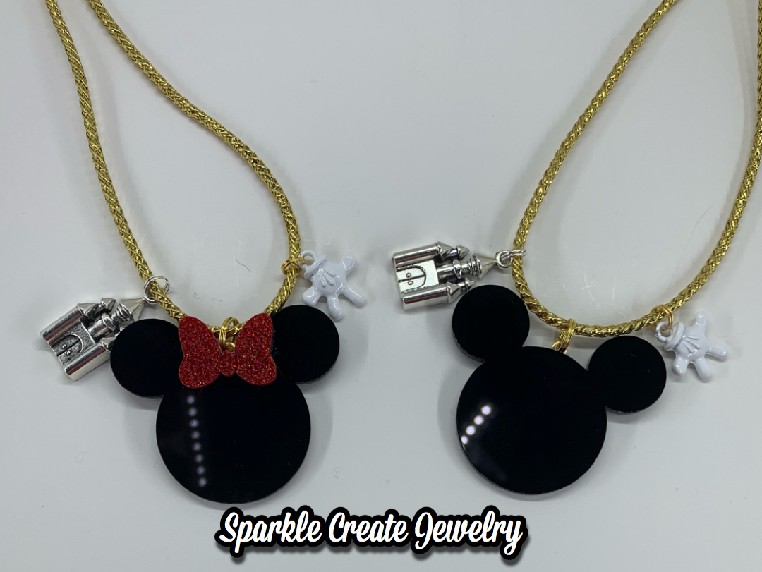 Mickey and Minnie Mouse Charm Necklace