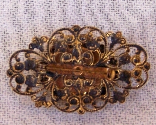 Broach  Lapel Pin  Black Gold  Vintage   2.25 Wide