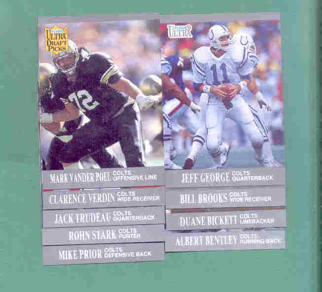 1991 Fleer Ultra Indianapolis Colts Football Team Set