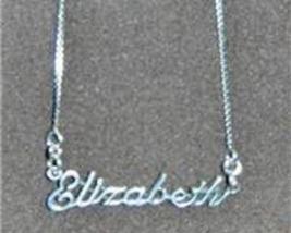 Sterling Silver Name Necklace - Name Plate - ELIZABETH - $54.00