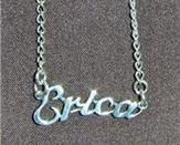 Sterling Silver Name Necklace - Name Plate - ERICA