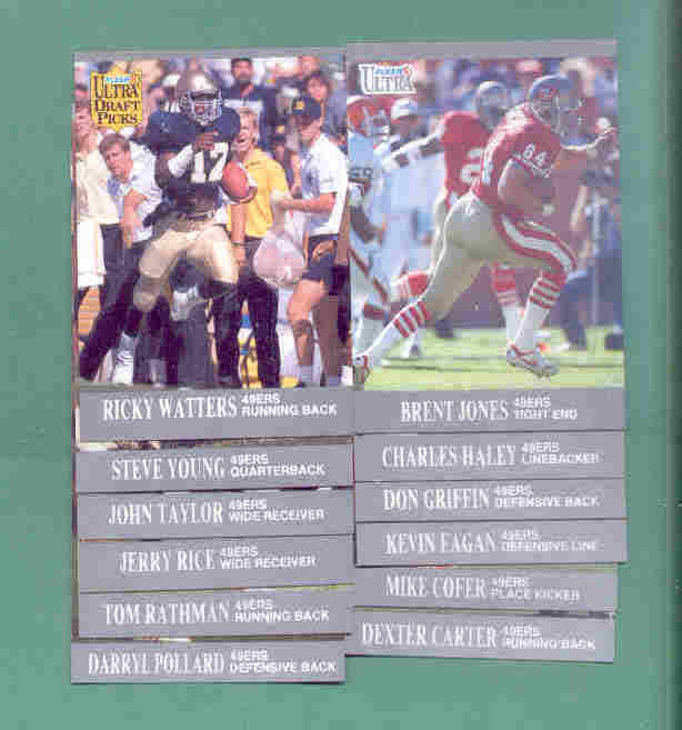 1991 Fleer Ultra San Francisco 49ers Football Team Set