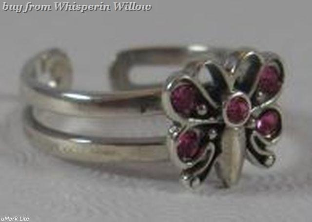 Pink crystal butterfly toe ring 1