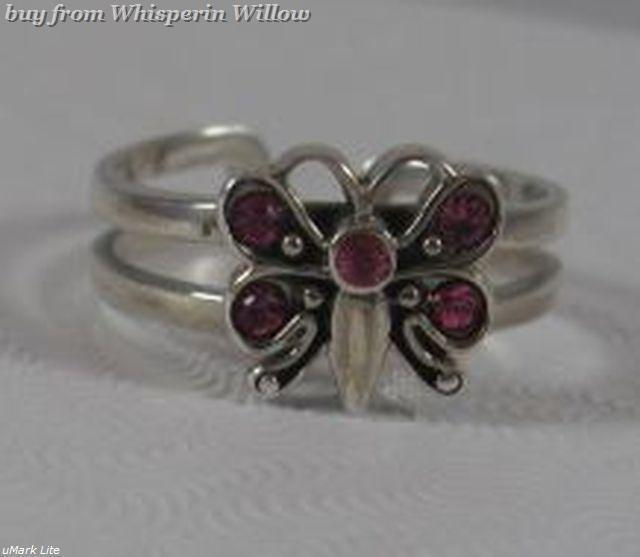 Butterfly w/5 Crystals Toe Ring