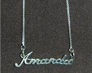 Sterling Silver Name Necklace - Name Plate - AMANDA