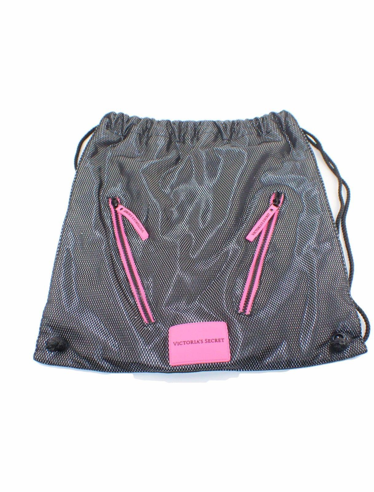 f9ed864ffd02 S l1600. S l1600. Previous. Victoria Secret Sport VSX Black Pink Gray Mesh  Drawstring Gym Backpack Tote Bag
