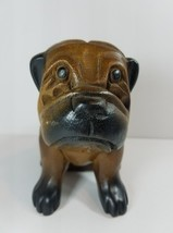 Hand Carved Wood Shar Pei Bulldog Dog - $24.75