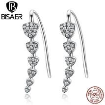 Genuine 925 Sterling Silver Triangle Heart Long Drop Earrings & Clear CZ Sterlin - $17.78