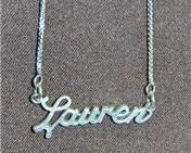 Sterling Silver Name Necklace - Name Plate - LAUREN