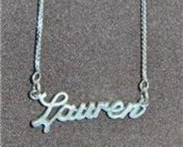 Sterling Silver Name Necklace - Name Plate - LAUREN - $54.00