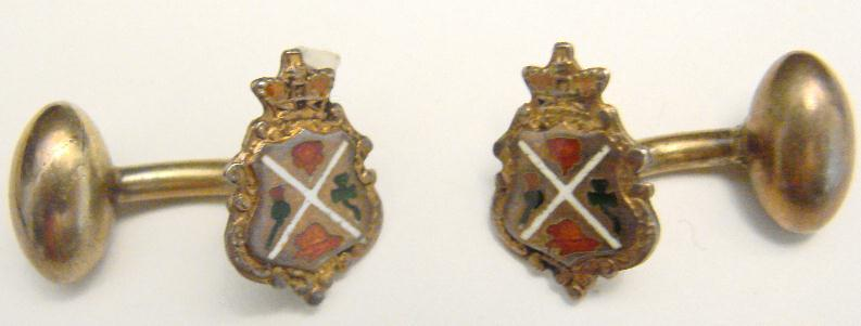 ANTIQUE STERLING & ENAMEL CUFF LINKS