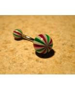 BELLY NAVEL RING RED GREEN WHITE STRIPES #480C - $4.99