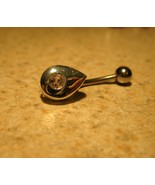 BELLY NAVEL RING PINK SAPPHIRE TEARDROP #524B - $7.99