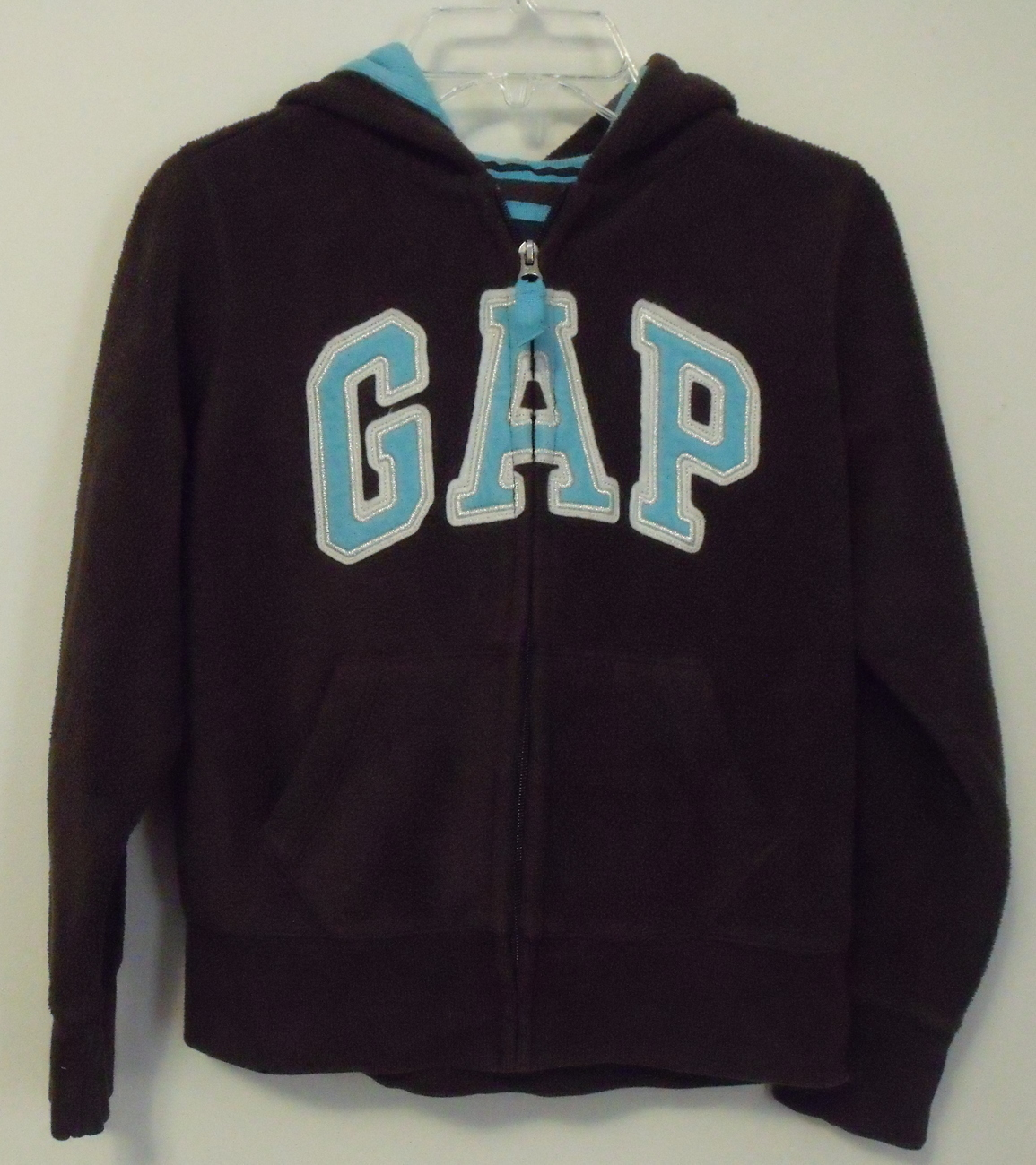 Primary image for Girls Gap Kids Brown with Aqua trim Fleece Hooded Long Sleeve Jacket Size M